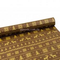 Бумага для подарков Олени на коричневом 10 м
