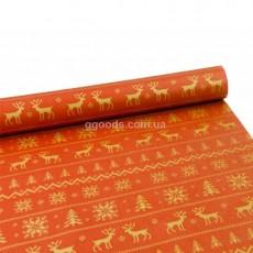 Бумага для упаковки подарков Олени на красном
