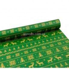 Бумага для подарков Олени на зеленом 10 м