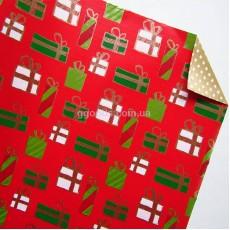 Бумага для упаковки подарков двусторонняя Звезды и подарки 10 м
