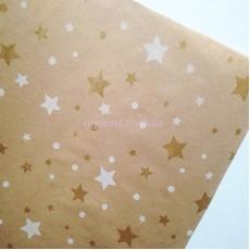 Бумага для упаковки подарков Звезды крафт 10 м