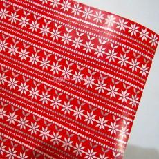 Бумага для подарков Скандинавский узор 10 м красная