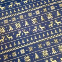 Бумага для упаковки подарков Олени на синем