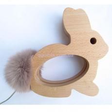 Ночник деревянный Кролик пушистый хвост