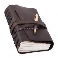 Блокнот с ручкой B6 темно-коричневый линованные листы