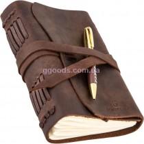Блокнот с ручкой B6 коричневый линованные листы