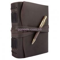 Блокнот с ручкой B6 темно-коричневый чистые листы