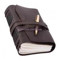 Блокнот с ручкой А5 темно-коричневый чистые листы
