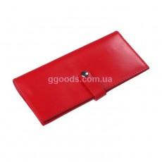 Женский кожаный кошелек красный на кнопке
