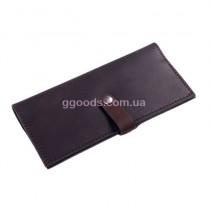 Кожаный кошелек коричневый на кнопке