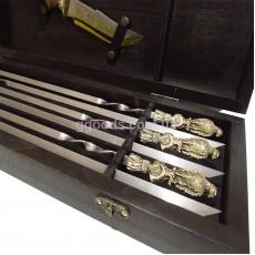 Набор шампуров Сокол с ножом в кейсе