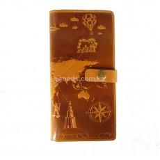 Тревел-кейс глянец желто-коричневый 7 wonders of the world