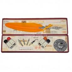 """Письменный набор со сменными перьями и чернилами """"Флоренция"""" оранжевый"""