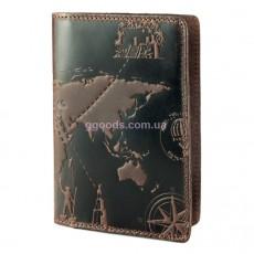 """Обложка для паспорта """"7 Wonders of the World"""" оливковая"""