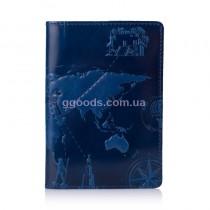"""Обложка для паспорта """"7 Wonders of the World"""" синяя"""
