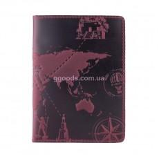 """Обложка для паспорта """"7 wonders of the world"""" фиолетовая"""