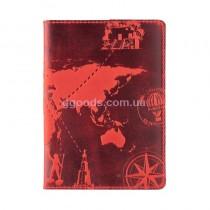 """Обложка для паспорта """"7 wonders of the world"""" красная"""