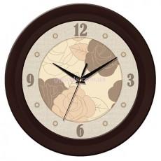 Часы с розами темно-коричневые