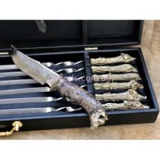 Набор шампуров Охотничьи трофеи с ножом в кейсе