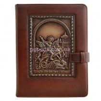 Ежедневник со съемной обложкой Георгий Победоносец коричневый