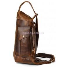 Мужской рюкзак через плечо винтажный коричневый