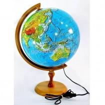 Глобус с подсветкой на деревянной подставке 320 мм