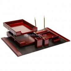 Настольный набор на 7 предметов красно-коричневый