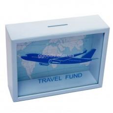 Копилка для купюр голубая Самолет