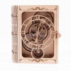 Настенные часы с деревянным механизмом Книга сейф
