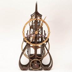Настенные часы с деревянным механизмом Готика темно-коричневые