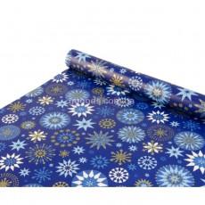 Упаковочная бумага Снежинки на синем