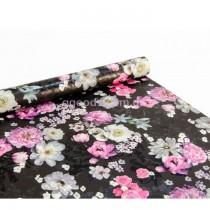 Бумага для упаковки подарков Цветы на черном