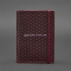 Кожаная обложка Карбон бордо