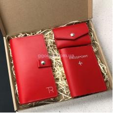 Набор кожаных аксессуаров красный