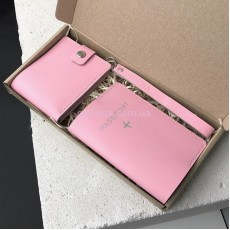 Набор кожаных аксессуаров для женщин розовый