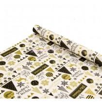 Бумага для упаковки подарков Новогоднее настроение белая 9 м