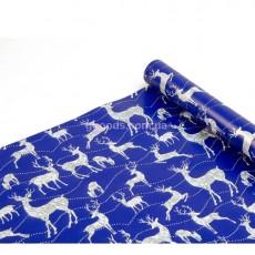 Бумага для упаковки подарков Олени на синем 9 м
