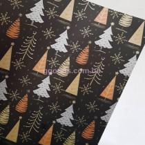 Бумага для подарков Елки на черном 9 м