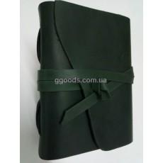 Блокнот кожаный В6 зеленый чистые листы