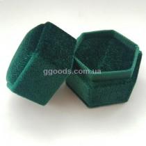 Бархатная коробочка для кольца зеленая шестиугольная