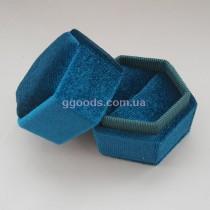 Футляр для кольца синий шестиугольный