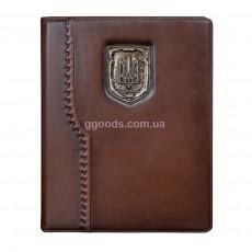 Кожаный еженедельник Герб Украины коричневый
