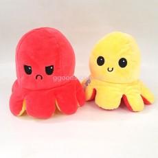 Игрушка осьминог двусторонний желто-коралловый