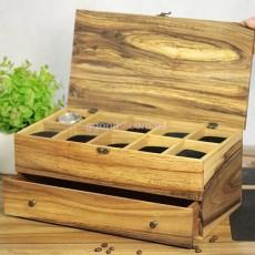 Органайзер для часов, очков с деревянной крышкой на 10 отделений с ящиком