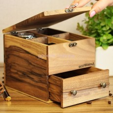 Коробочка для часов с деревянной крышкой на 4 отделения с ящиком