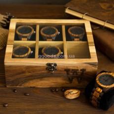 Органайзер для часов со стеклянной крышкой на 6 отделений