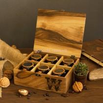 Органайзер для часов на 6 отделений с деревянной крышкой