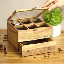 Органайзер для часов со стеклянной крышкой 6 отделений с ящиком
