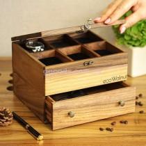 Органайзер для часов и украшений 6 отделений с деревянной крышкой с ящиком