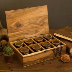Футляр для часов с деревянной крышкой 8 отделений
